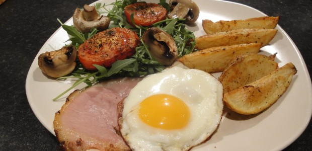 Healthy Ham, Eggs & Chips